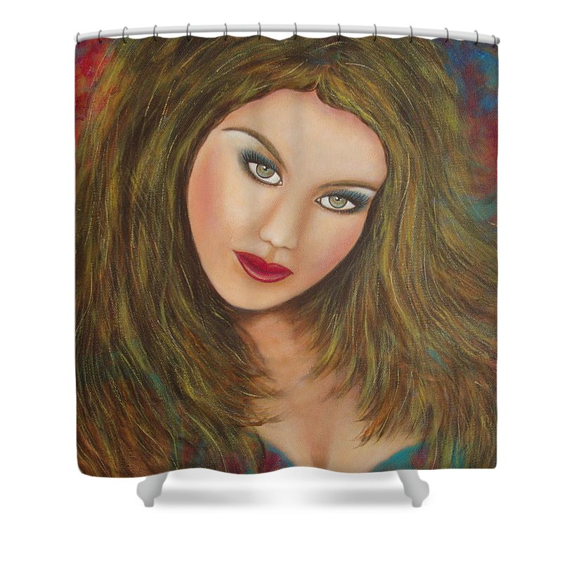 Portrait Shower Curtain featuring the painting Lioness by Natalie Holland