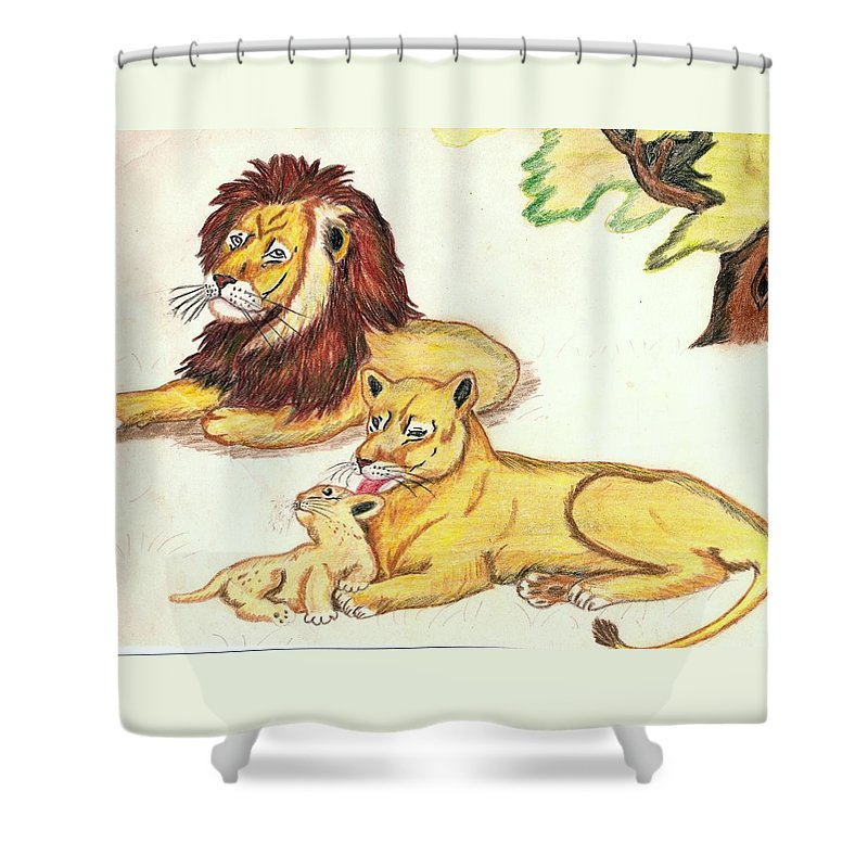 Lions Shower Curtain featuring the drawing Lions Of The Tree by George I Perez