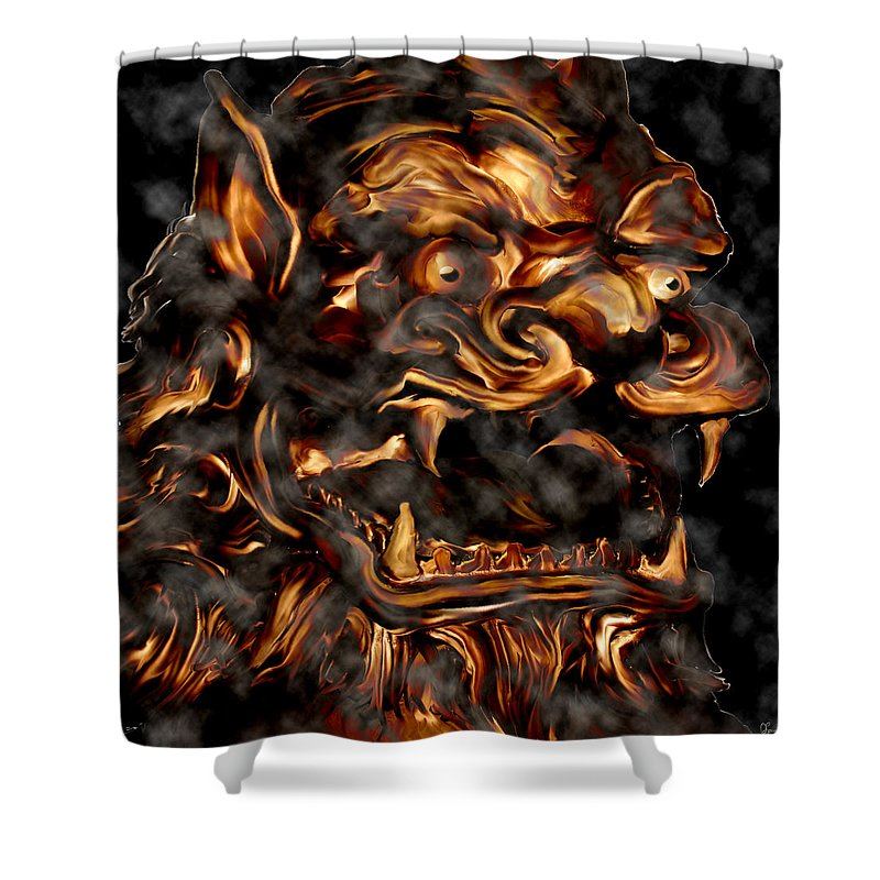 Leo Lion Goth Gothic Wild Emotion Feelings Animal Cloud Fierce Shower Curtain featuring the digital art Lions Roar by Andrea Lawrence