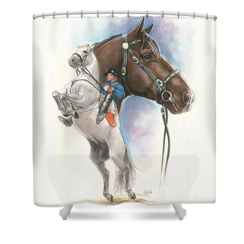 Spanish Riding School Shower Curtain featuring the mixed media Lippizaner by Barbara Keith