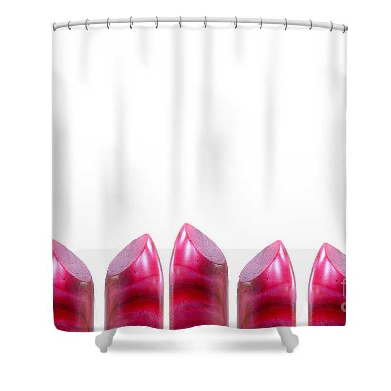 Europe Shower Curtain featuring the digital art Lipstick Border With Copy Space by Richard Wareham