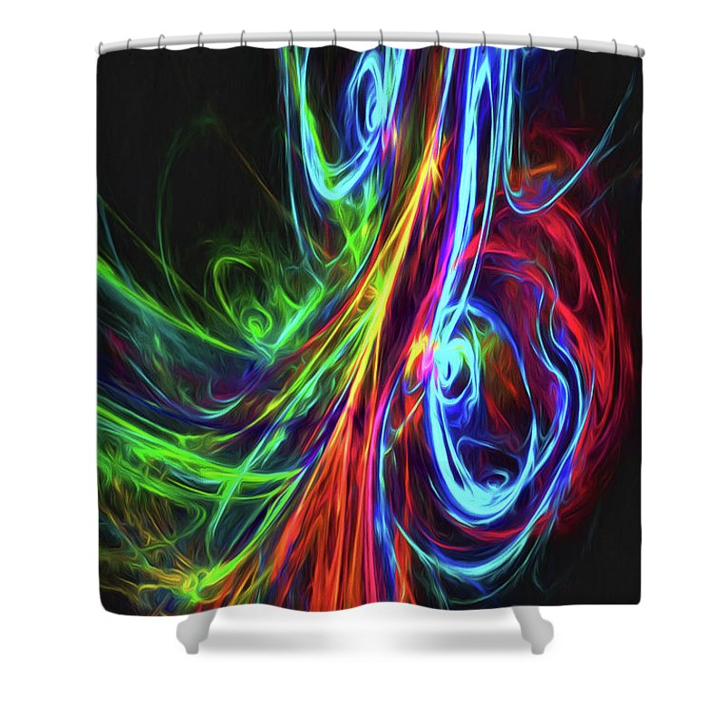 Vertical Shower Curtain featuring the digital art Liquid Neon by Kelley Freel-Ebner