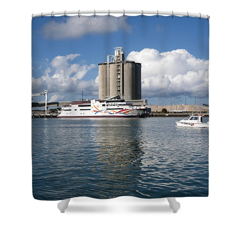 Boat Shower Curtain featuring the photograph Liquid Vegas Gambling Boat by Allan Hughes