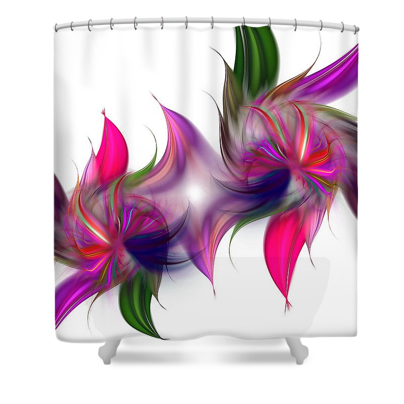 Abstract Shower Curtain featuring the digital art Liquidity Of Math by Georgiana Romanovna