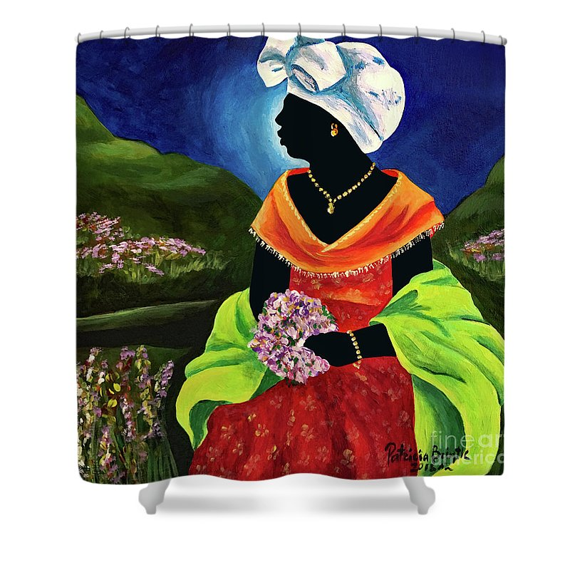 Haiti Shower Curtain featuring the painting Lisabelle by Patricia Brintle
