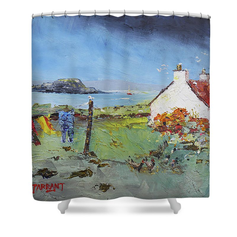 Lismore Island Scotland. Scottish Painting Shower Curtain featuring the painting Lismore Island by Peter Tarrant