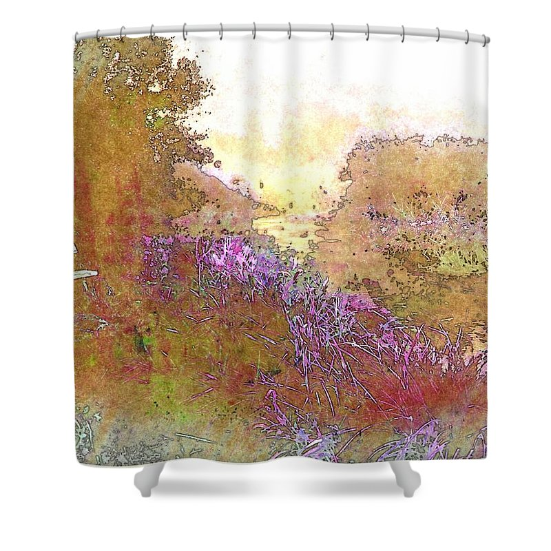 Bench Shower Curtain featuring the photograph Listen To The Stillness by Ellen Cannon