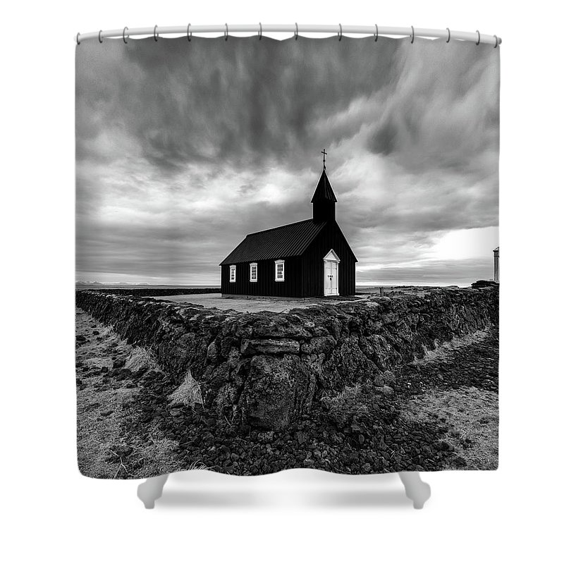 Iceland Shower Curtain featuring the photograph Little Black Church 2 by Larry Marshall