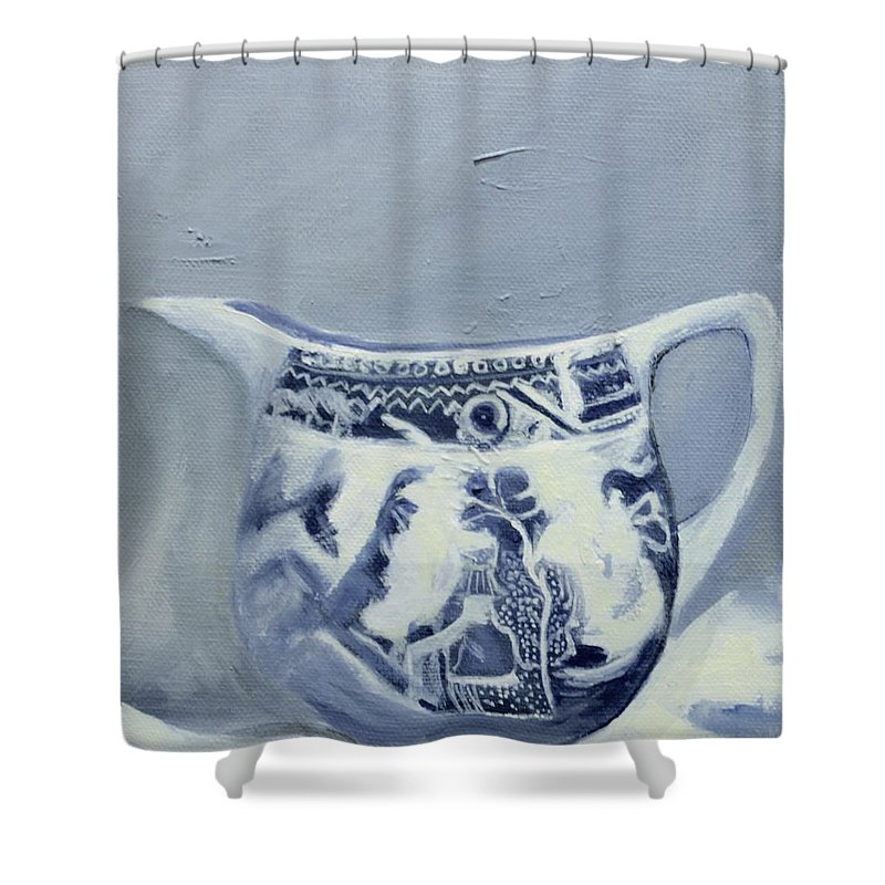 Dutch Shower Curtain featuring the painting Little Blue Jug by Margie Haslewood