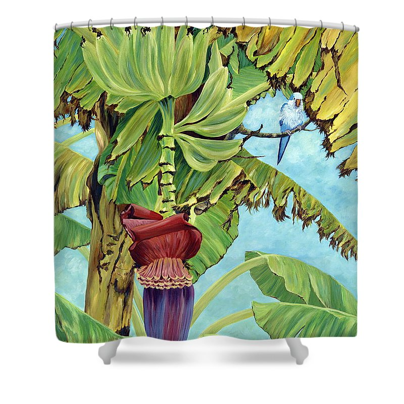 Tropical Shower Curtain featuring the painting Little Blue Quaker by Danielle Perry