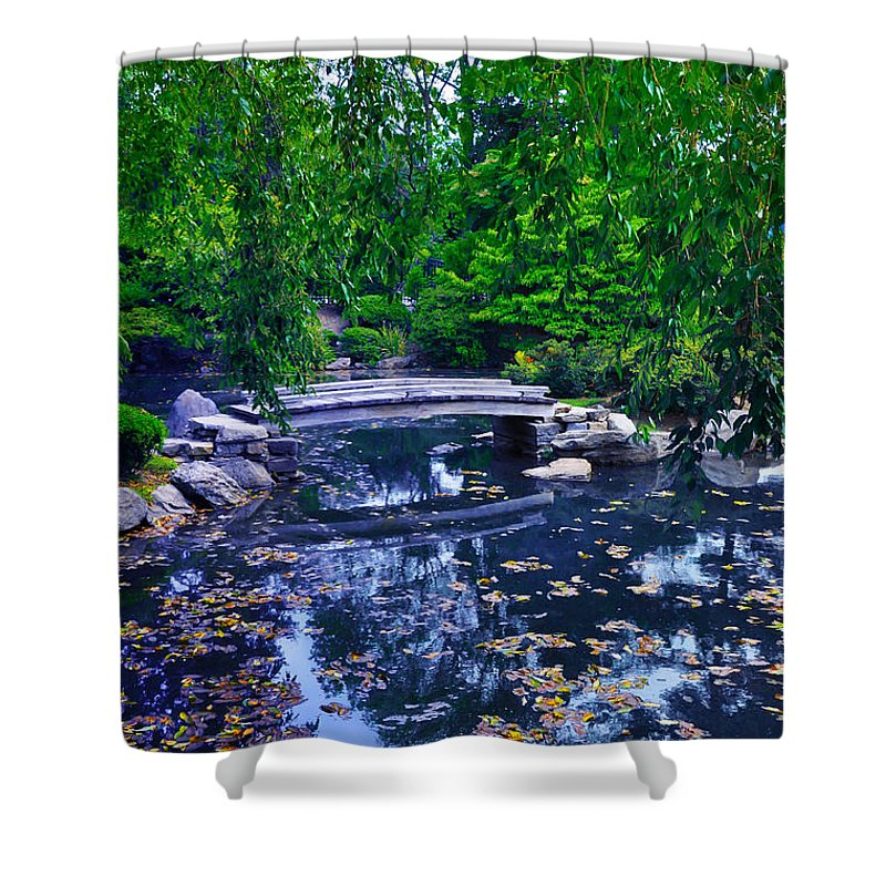 Bridge Shower Curtain featuring the photograph Little Bridge - Japanese Garden by Bill Cannon