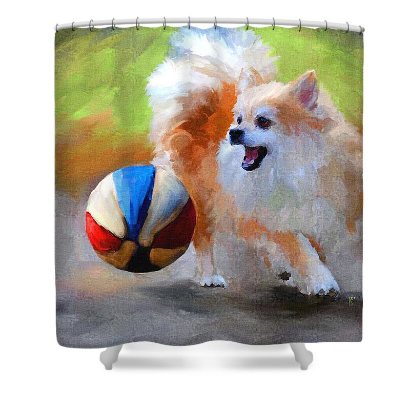 Pomeranian Shower Curtain featuring the painting Little Cheerleader by Jai Johnson