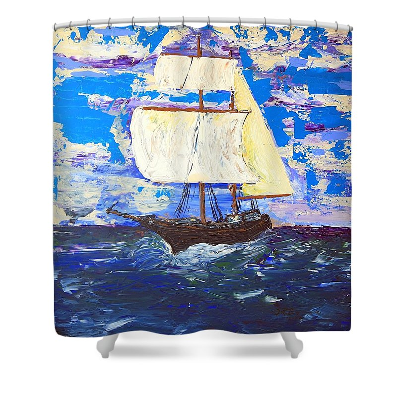 Clipper Shower Curtain featuring the painting Little Clipper by J R Seymour