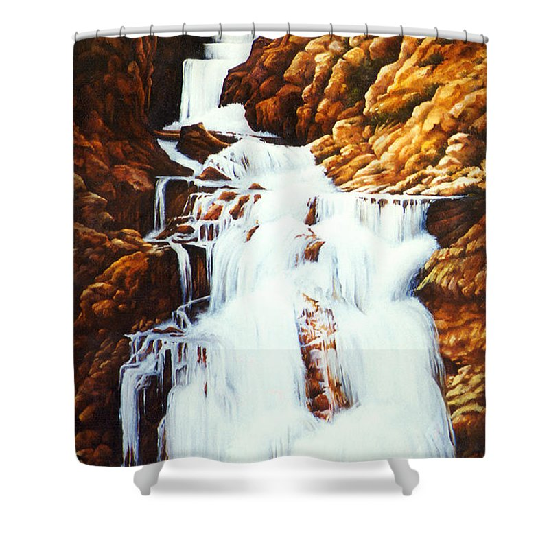 Waterfall Shower Curtain featuring the painting Little Firehole Falls by Teri Rosario