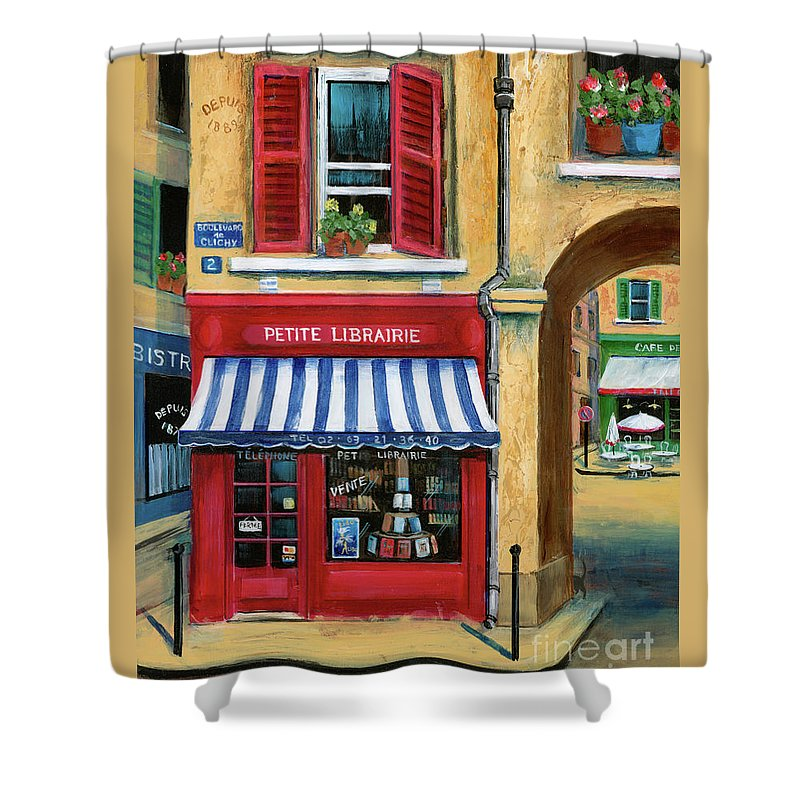 Europe Shower Curtain featuring the painting Little French Book Store by Marilyn Dunlap