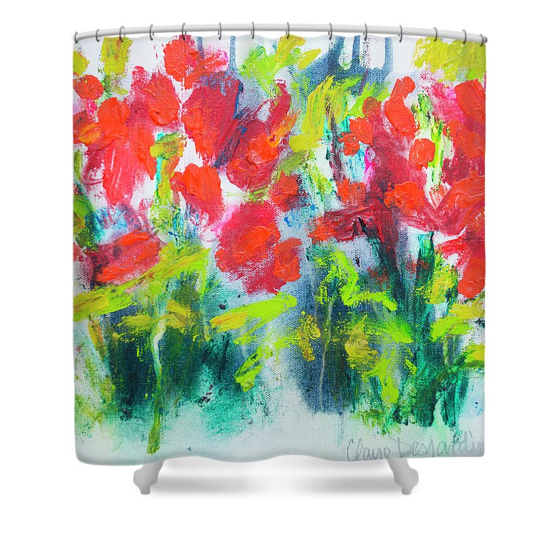 Abstract Shower Curtain featuring the painting Little Garden 01 by Claire Desjardins