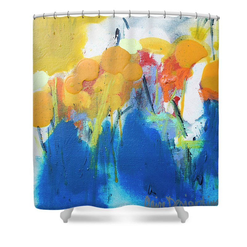Abstract Shower Curtain featuring the painting Little Garden 02 by Claire Desjardins