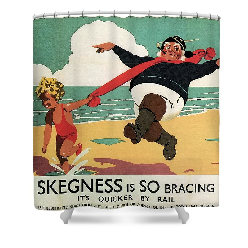 Little Girl And Old Man Playing Shower Curtain featuring the painting Little Girl And Old Man Playing On The Beach In Skegness, Lincolnshire - Vintage Advertising Poster by Studio Grafiikka