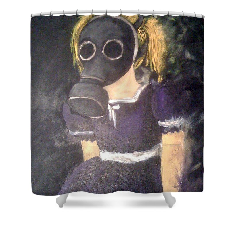 Creepy Shower Curtain featuring the painting Little Girl Wear Gas Mask by Misty Greyeyes