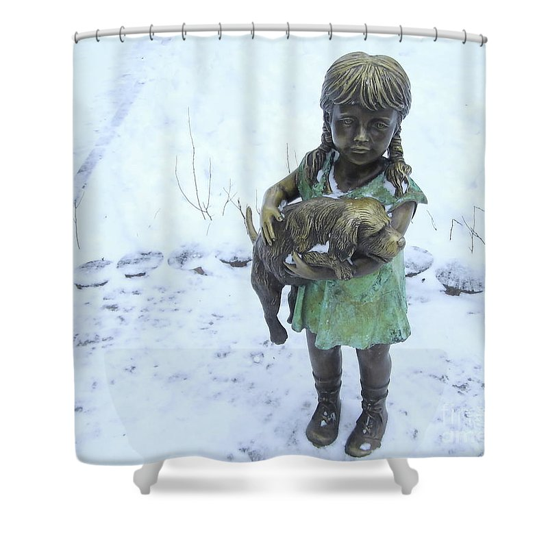 Decoration Shower Curtain featuring the photograph Little Girl With A Puppy In Her Arms. by Kateryna Klymenko