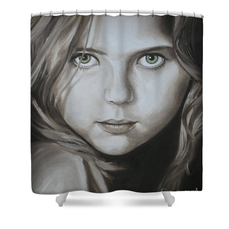 Portrait Shower Curtain featuring the painting Little Girl With Green Eyes by Jindra Noewi
