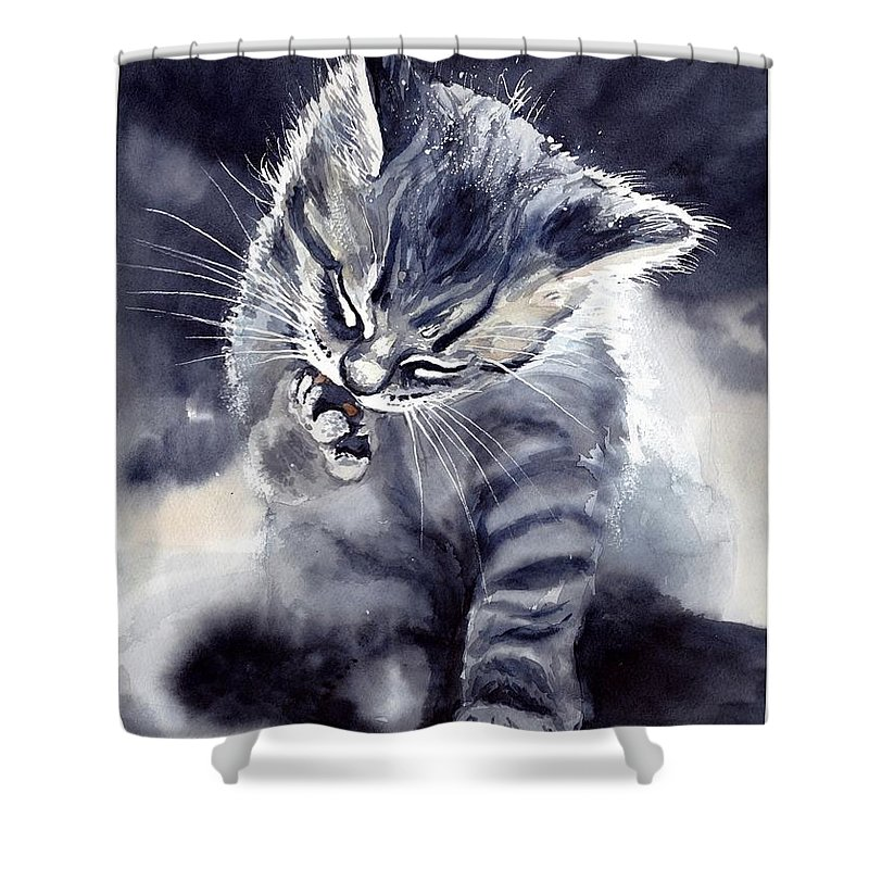 Little Shower Curtain featuring the painting Little Grey Cat by Suzann Sines