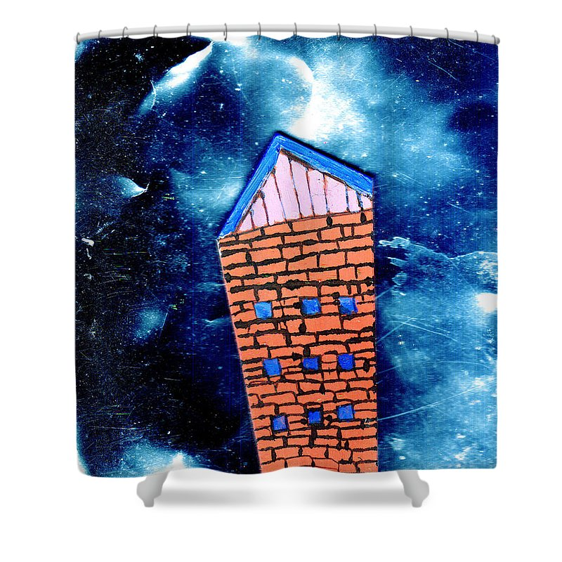 Mixed Media Shower Curtain featuring the painting Little House In The Cosmos by Wayne Potrafka