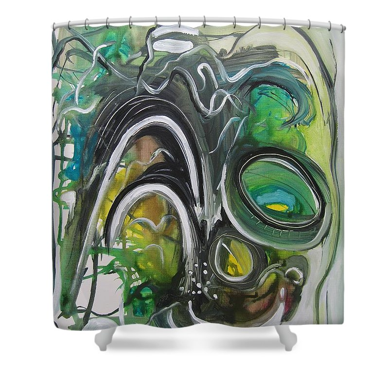 Abstract Paintings Shower Curtain featuring the painting little impression on Alexander trail by Seon-Jeong Kim