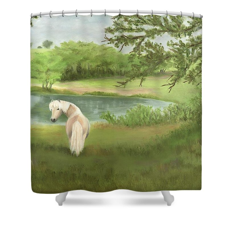 Horse Paintings Shower Curtain featuring the painting Little Joe by Deborah Butts