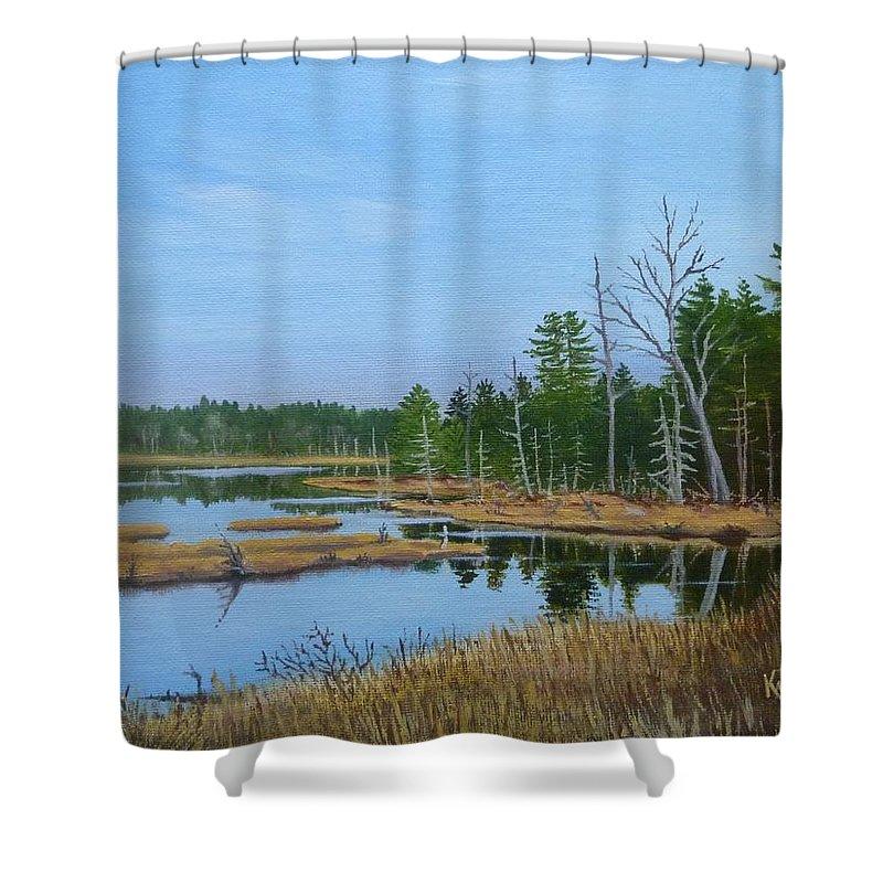 Landscape Shower Curtain featuring the painting Little Musquatch Lake by Karsten Kittelsen