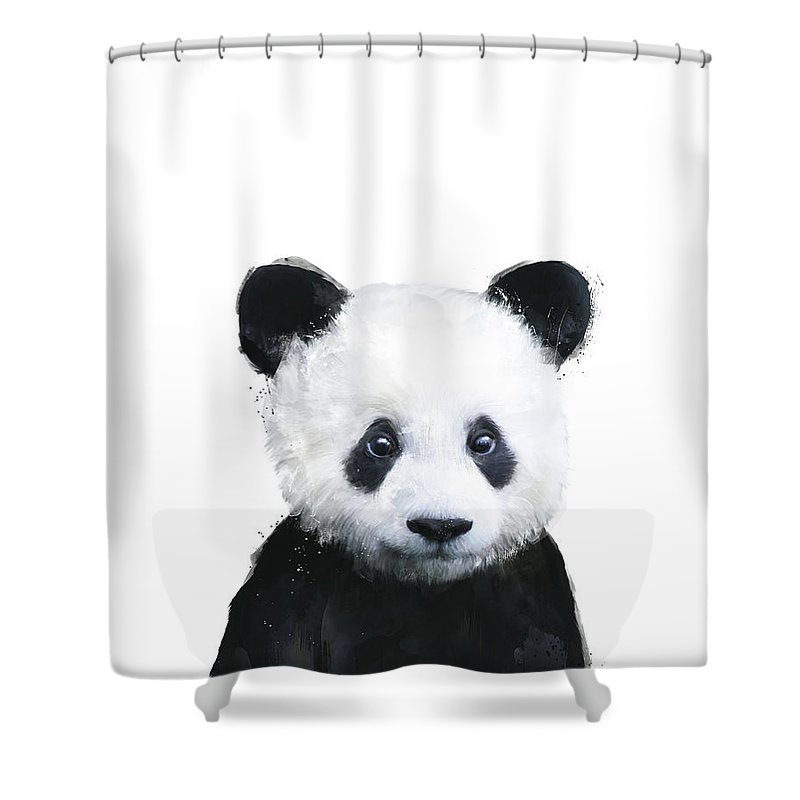 Panda Shower Curtain Featuring The Painting Little By Amy Hamilton