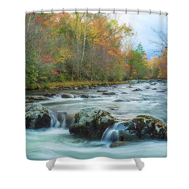 Smoky Mountains Shower Curtain featuring the photograph Little Pigeon River Great Smoky Mountains National Park In Fall by Carol Mellema
