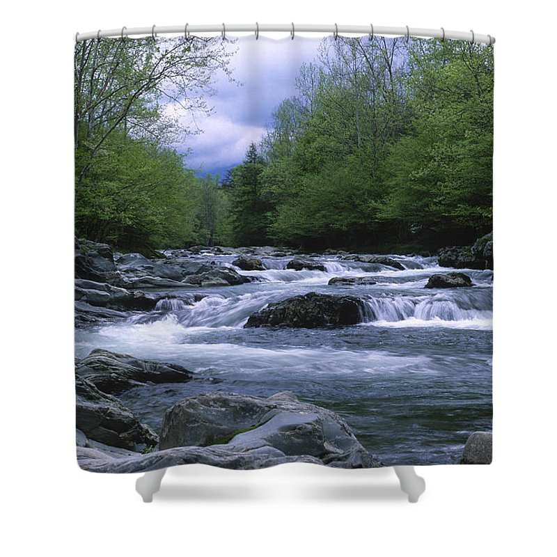 Great Smoky Mountains Shower Curtain featuring the photograph Little Pigeon River by Sandra Bronstein