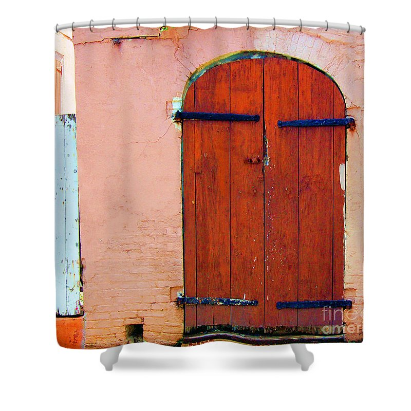 Door Shower Curtain featuring the photograph Little Pink House by Debbi Granruth