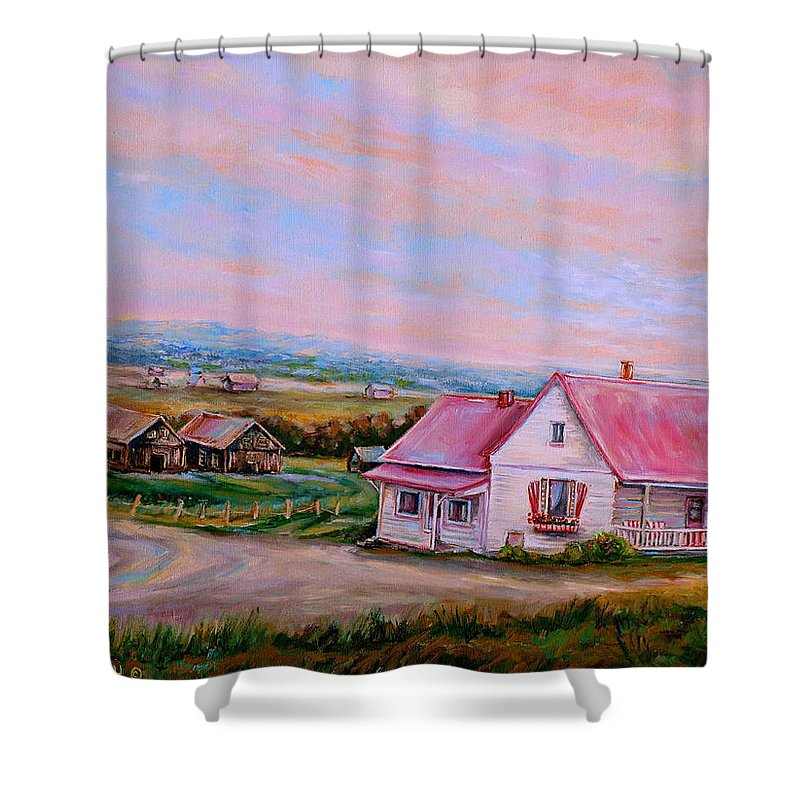 Little Pink Houses Shower Curtain featuring the painting Little Pink Houses by Carole Spandau
