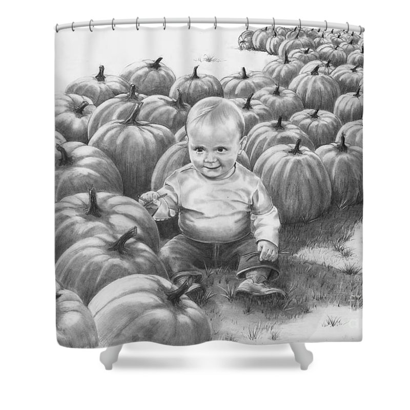 Charity Shower Curtain featuring the drawing Little Pumpkin by Murphy Elliott