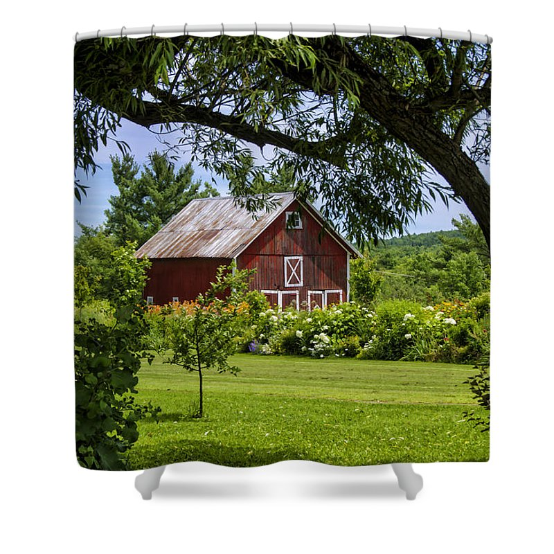 Barn Shower Curtain featuring the photograph Little Red Barn by Donna Doherty