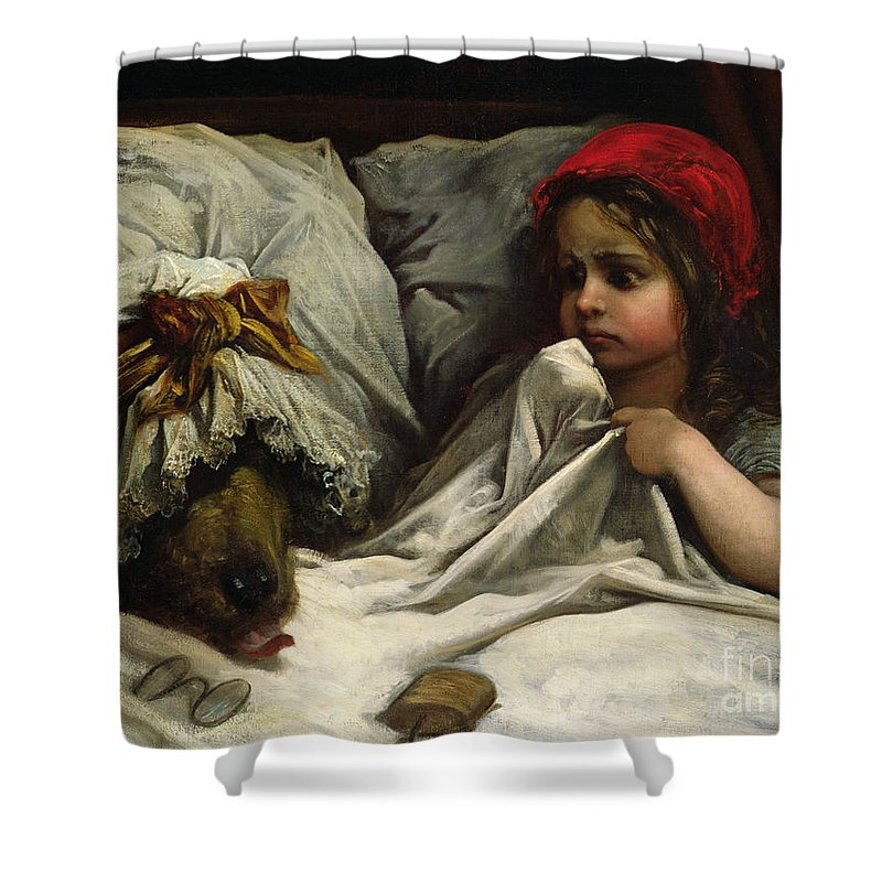 Wolf; Disguise; Child; Girl; Fairy Tale; Story; Glasses; Bed; Nightcap; Fear Shower Curtain featuring the painting Little Red Riding Hood by Gustave Dore