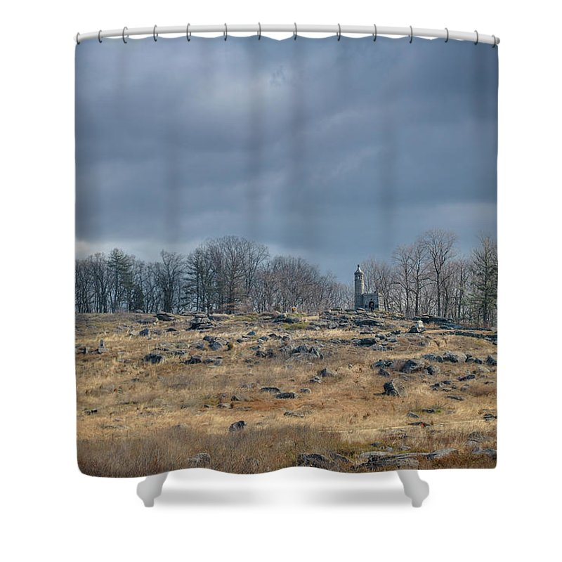 Gettysburg Shower Curtain featuring the photograph Little Round Top by Jen Goellnitz