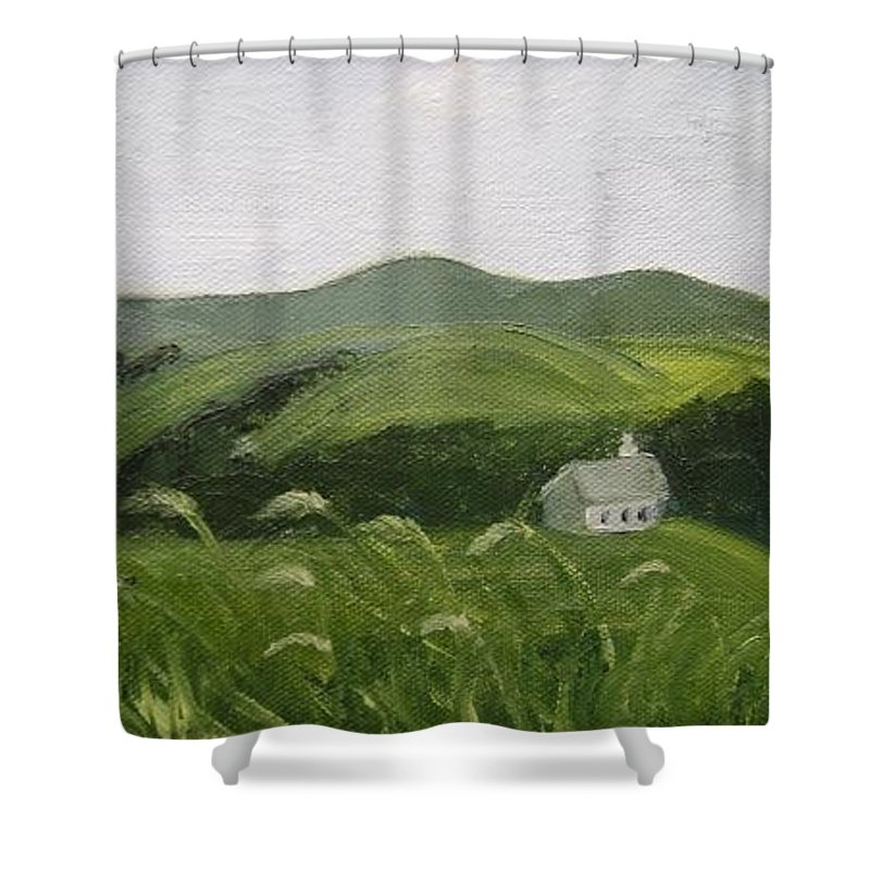 Landscape Shower Curtain featuring the painting Little Schoolhouse On The Hill by Toni Berry
