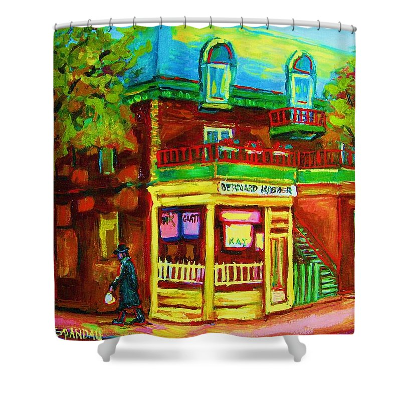 Montreal Streetscenes Shower Curtain featuring the painting Little Shop On The Corner by Carole Spandau