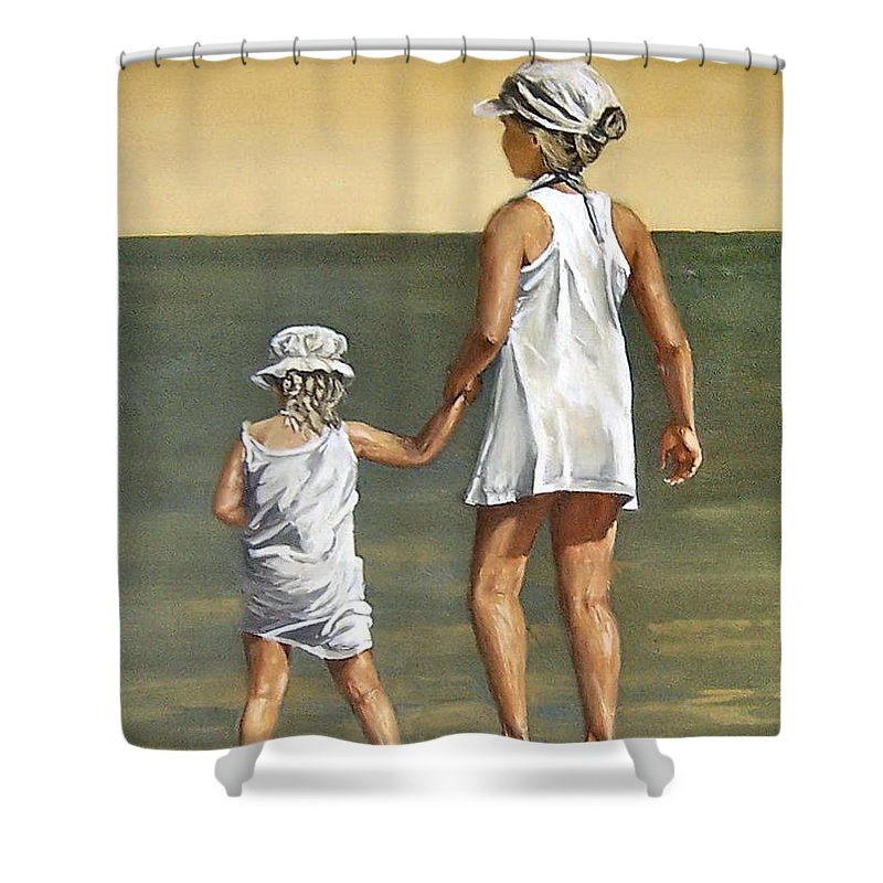 Little Girl Reflection Girls Kids Figurative Water Sea Seascape Children Portrait Shower Curtain featuring the painting Little Sisters by Natalia Tejera