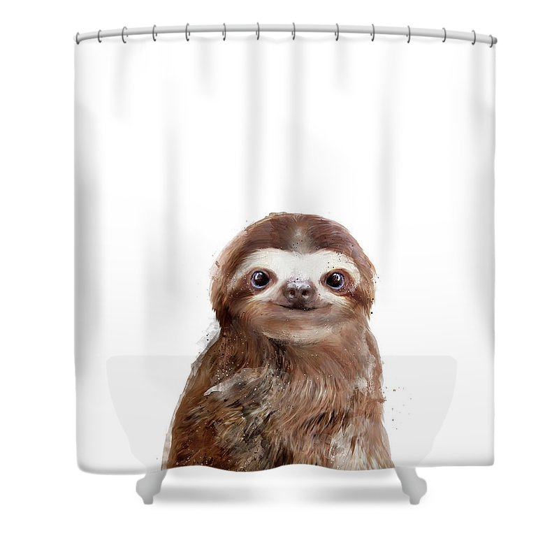 Sloth Shower Curtain featuring the painting Little Sloth by Amy Hamilton