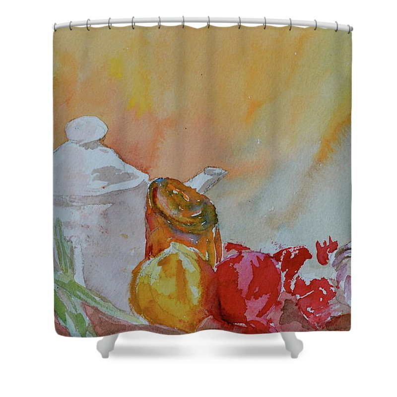 Still Life Shower Curtain featuring the painting Little Still Life by Beverley Harper Tinsley