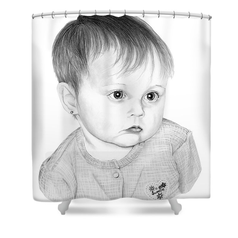 Pencil Shower Curtain featuring the drawing Little Sweetie by Murphy Elliott