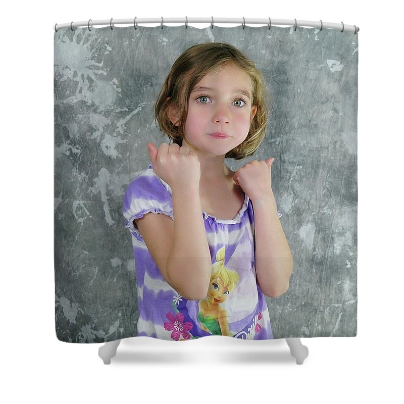 Kids Shower Curtain featuring the photograph Little Tomboy by Jeff Swan