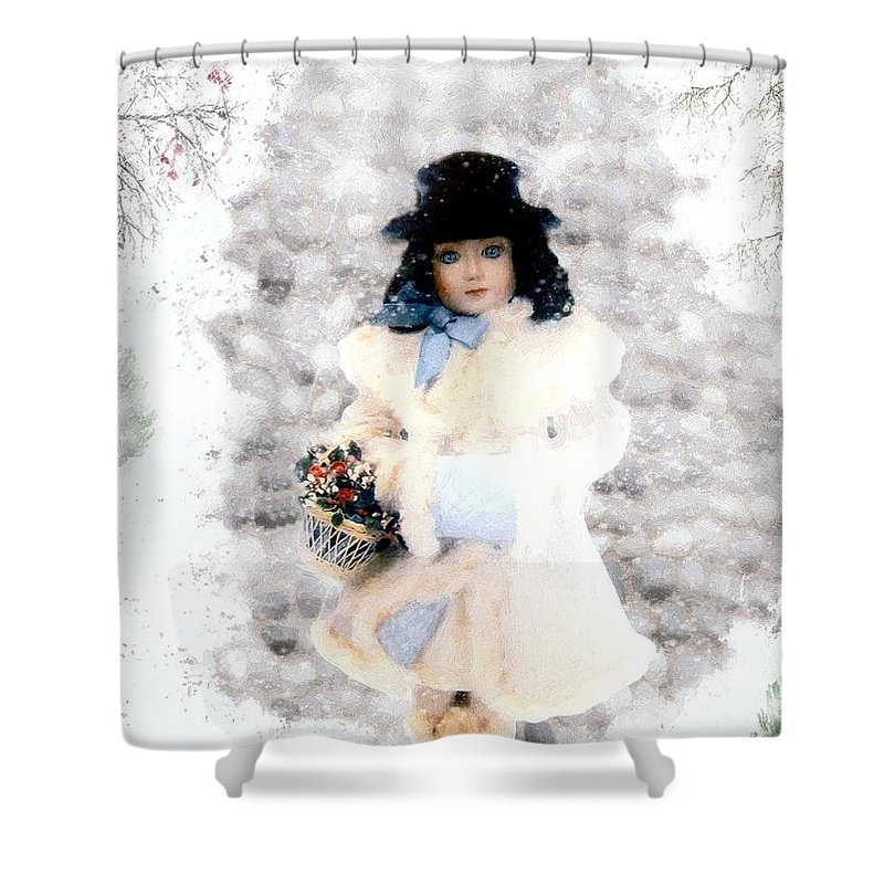 Vintage Shower Curtain featuring the painting Little Visitor by RC DeWinter
