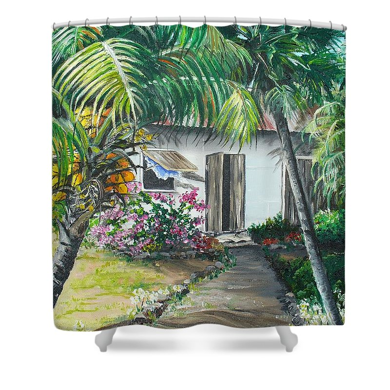 Caribbean Painting Typical Country House In Trinidad And The Islands With Coconut Tree Tropical Painting Shower Curtain featuring the painting Little West Indian House 2...sold by Karin Dawn Kelshall- Best