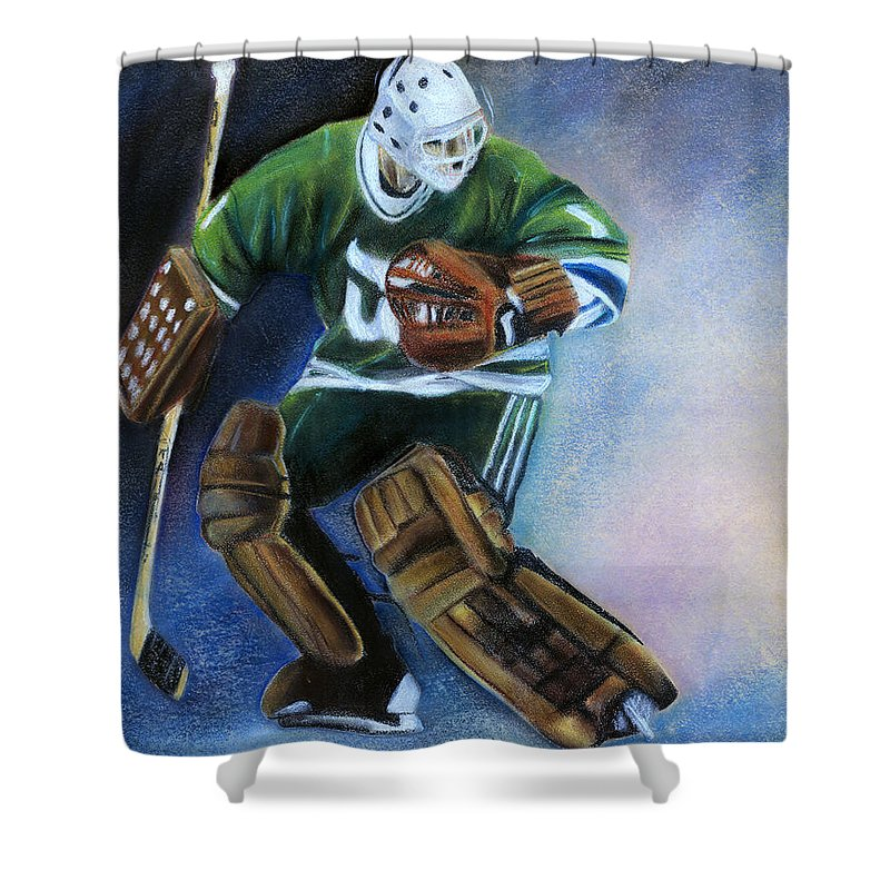 Mike Liut Shower Curtain featuring the pastel Liut Goal by Andre Tremblay