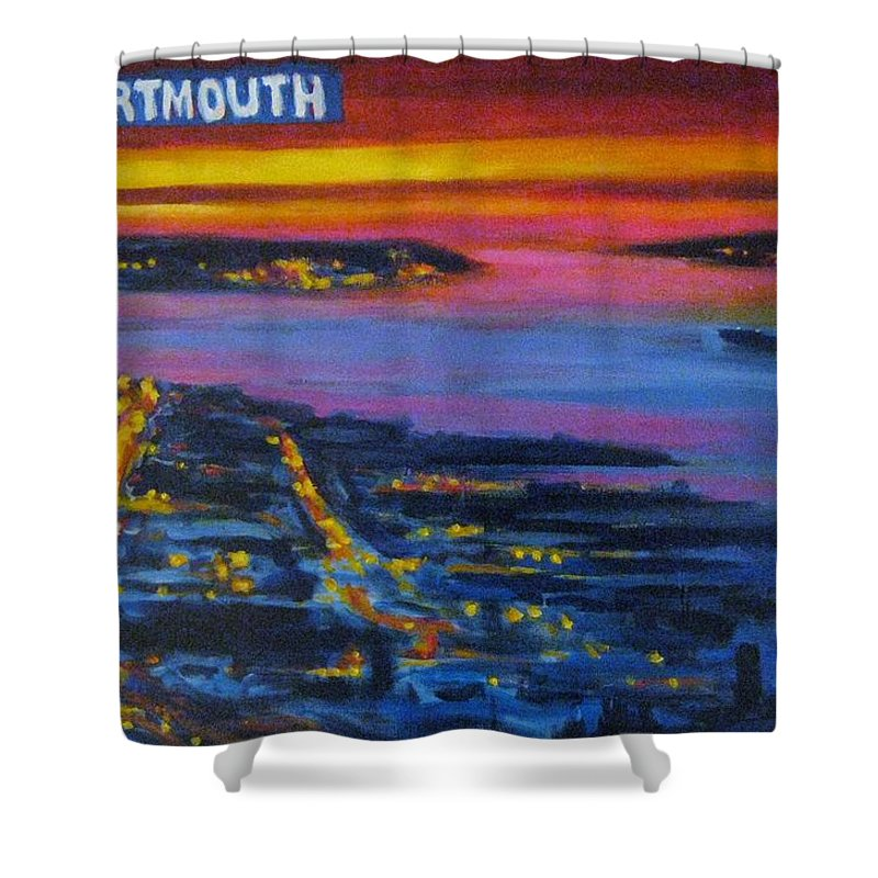 Night Scenes Shower Curtain featuring the painting Live Eye Over Dartmouth Ns by John Malone